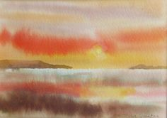 Sunset 1  an original watercolour by ColoursandTextures on Etsy, £35.00