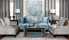 Z Gallerie - Brighton Sofa - Aquamarine - I could easily just live in one of their stores, so lovely