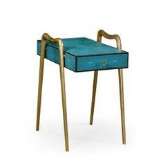 Teal Shagreen & Brass End Table | Jonathan Charles 495205-SGT-BAP