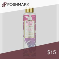 "Body Dew Pink Paradise New Scent of passion fruit and key lime! Summer yum in the bottle. quickly becoming my favorite!  Locks in moisture for a sexy shine (it's referred to as ""Carrie Underwood legs in a bottle"" for a reason)! Helps keep those dry winter legs feeling like those sexy summer ones! Can help tattoos maintain freshness and revives the colors!  Helps prevent suntanned skin from peeling.  Helps keep bugs away too!  Infused with almond oil, a must have for your skin being soft…"