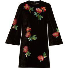 Alexachung Sequin-embellished velvet mini tunic dress ($698) ❤ liked on Polyvore featuring dresses, black multi, loose dress, velvet dress, three quarter sleeve dress, embellished dress and sequin mini dress