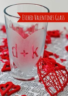 Etched Valentines Day Glass   via www.thistlewoodfarms.com  #ValentinesDay  #Crafts  #GlassEtching