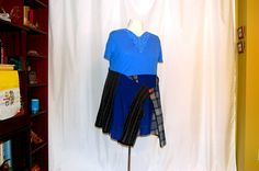 plus size dress tunic blue plaid sweater wrap lace neckline altered refashioned restyled upcycled boho hippie lagenlook by RestyledBohoPlus on Etsy