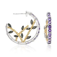 1.00 ct. t.w. Amethyst and .15 ct. t.w. Green Diamond Bamboo Hoop Earrings in Two-Tone Sterling Silver