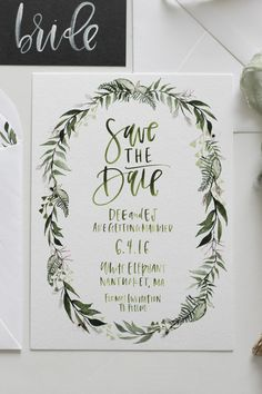 Custom Greenery Illustration A Fabulous Fete. Save The Date Invitations, Save The Date Cards, Wedding Invitations, Wedding Save The Dates, Our Wedding, 2017 Wedding, Wedding Tips, Spring Wedding, Elegant Wedding