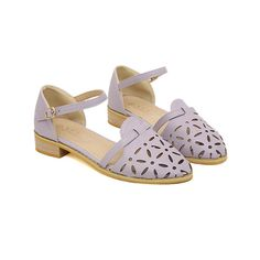 New Arrival Openwork and Low Heel Design Sandals For Women ($16) ❤ liked on Polyvore featuring shoes, sandals, flats, lavender flats, flat pumps, lavender shoes, small heel shoes and low heel shoes