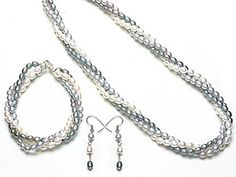 Genuine triple strand  fresh-water white/grey/deep grey pearl set