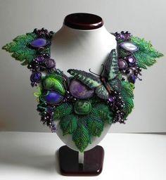 """Купить Колье """"Виноградное"""" - тёмно-зелёный, зеленый, ярко-зелёный, фиолетовый, сиреневый, тёмно-фиолетовый"""