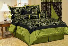 Amazon.com: Beautiful 7 Pc Green & Black Zebra Print with Flocking Texture, KING Size Bedding Set: Home & Kitchen