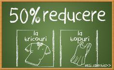 Doar astazi beneficiati de o reducere de 50% la toata gama de topuri si tricouri! Va asteptam la miniPrix Otopeni!
