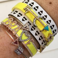 """""""Shoot for the moon. You'll land among the stars."""" Citron keeper with summer wide cuff. I love the layering look! The second is Braveheart: the yellow woven keeper with pave letters for Brave with the heart embedded as the V. Yellow has a happy, positive vibe for this sweet summer bracelet about aiming high for goals! #keepcollective"""