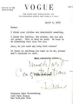 what if every one of us had a mentor like this in life?  what could happen THEN?!  Memo from Diana Vreeland.