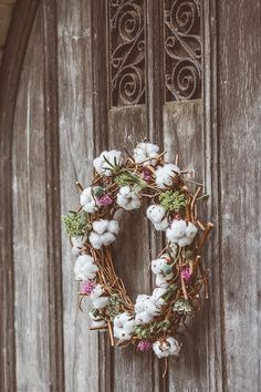 Stunning Wreath made from Cotton Flowers.