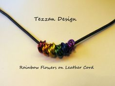 Chainmaille Flowers on Leather Cord