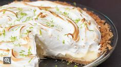 Key Lime Pie with Lime Meringue by tastingtable as adapted from Chef David LeFevre: In addition to fresh Key lime juice, he includes finely chopped makrut (kaffir) lime leaf in the meringue, and finishes the pie with an extra grating of fresh lime zest on top. #Pie #Key_Lime