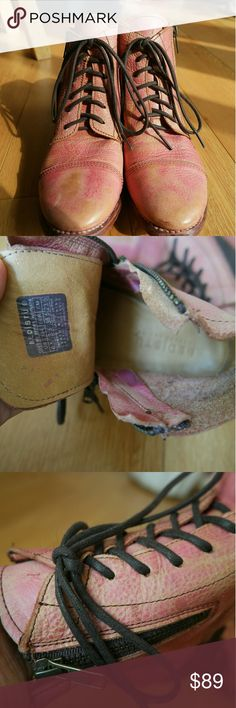 Bed stu Pink distressed leather cobbler series Amazing shoes thats great for fall, winter, and spring. In great condition. Has some wear to bottom sole Bed Stu Shoes Ankle Boots & Booties