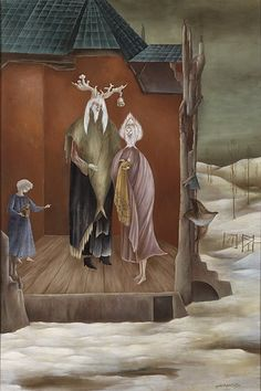 Le Bon Roi Dagobert by Leonora Carrington 1948 Max Ernst, Le Bon Roi Dagobert, Spanish Painters, Mexican Artists, Unusual Art, Fantastic Art, Art Studies, Surreal Art, Art Market