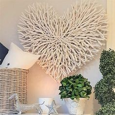 Large White Wood Chunky Twig Heart - PRE ORDER END FEB 2020 - West Barn Interiors Love this.It's name describes is perfectly.This lovely chunky antique white finish heart will most certainly create a feature on your. Twig Crafts, Pom Pom Crafts, Nature Crafts, Craft Stick Crafts, Heart Wall Decor, Heart Wall Art, Twig Christmas Tree, Twig Art, Rustic Letters