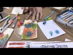 Tim Holtz demos Distress Crayons over Crazing - Creativation - CHA 2017 - YouTube