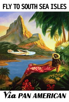 A Pan Am Clipper poster from the 1930s, slightly enhanced for Lahaina Printsellers by Ricardo San Pedro in 1996.  A smaller copy of the original can be seen at The Pacific Aviation Museum.