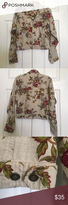 Vintage floral linen jacket Vintage floral linen/cotton jacket. Buttons down front, on pockets, and on back bottom (adjustable). Very pretty design. 4 pockets on front. Excellent condition liz wear Jackets & Coats Jean Jackets