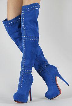 Cobalt blue high heel boots