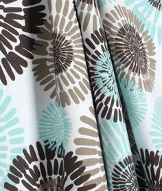 Michael Miller Cote d Azur Sea Fabric. Aqua blue / turquoise and brown Quilting cotton fabric.
