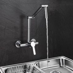 Modern Wall-Mount Hot&Cold Articulating Kitchen Faucet 2-Hole Bridge with Single Handle in Chrome