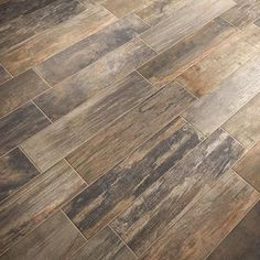 ♥ This Wood Look Porcelain Tile Flooring A New Alternative to Hardwood and Laminate - is introduced by HomeThangs.com – Home Improvement Super Store (Mountain Timber in Native Timber Wood Look Tile from Mediterranea)