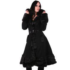 Gothic Lolita Wintermantel mit Kapuze und Kunstfell | VOODOOMANIACS