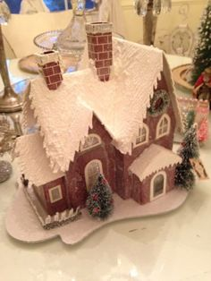 Pinky's Gorgeous Christmas Shabby Putz House Bottle Brush Trees Fence Lights