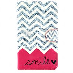 Smile Wave Pattern PU Leather Wallet Soft TPU Case Cover For Samsung Galaxy Tab 4 10.1/ Tab 3 Lite/Tab 4 7.0/Tab A 8.0 - USD $14.99