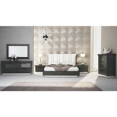 Ariana Modern Grey & White Bedroom Set | Creative Furniture Furniture, Upholstered Headboard, Bedroom Sets, Modern Living Room Set, Creative Furniture, Paris Bedroom, Bedroom Set, Modern Bed, Bedroom