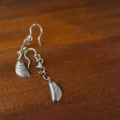 Long mussel shell and seaweed earrings by Errant on Etsy