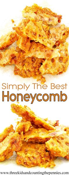The simplicity and deliciousness of this honeycomb recipe will see you making it all the time. Simply The Best Honeycomb: The simplicity and deliciousness of this honeycomb recipe will see you making it all the time. The kids love love love it. Honeycomb Recipe, Honeycomb Candy, Candy Recipes, Sweet Recipes, Dessert Recipes, Desserts, Fudge Recipes, Fairy Food, Toffee Candy