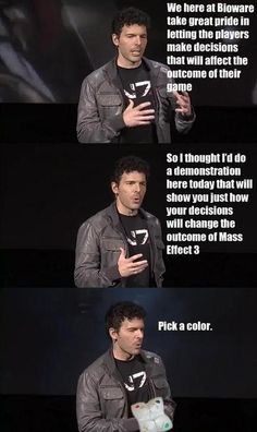 Casey Hudson wants you to pick a color... (Mass Effect 3)