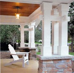 Amazing columns for a craftsman porch. I want a porch like this someday. Please and thanks!