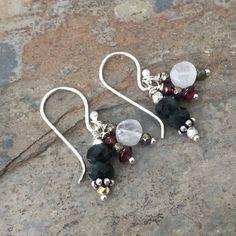 Gemstone Cluster Earrings, Shaded Emerald, Moonstone and Garnet Earrings, Sterling Silver, 1.25 inches long