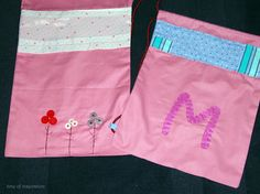 2 little fabric bag for two girls named M
