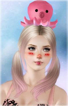 Octopus headband and earrings by Jennisims - Free Sims 3 Accessories Downloads Jenni Sims Custom Content Caboodle - Best Sims3 Updates and Finds