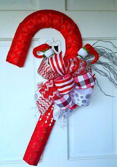 Candy Cane Wreath Christmas Wreath Candy Cane Door Hanger