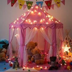 Tenda Grande Rosa com luzes em forma de estrelas para meninas - Castelo da Princesa - SpringBuds