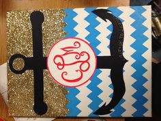 """monogram on canvas. anchor> """"refuse to sink"""""""