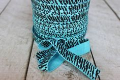 Turquoise Zebra Print Fold Over Elastic  by CoutureCraftSupply, $4.00