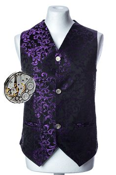 This Steampunk waistcoat has genuine watch movement buttons as shown. A great addition to your wardrobe to match your pocket watch and watch movement cuff links.