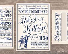 Vintage Wedding Invitation Printable // Whimsical Victorian Wedding  Invitation Set // Navy Wedding Invites