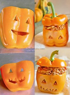 Jack-o-Lantern Stuffed Bell Peppers - Filled with Italian flavors and a roasted red pepper sauce, this recipe makes a delicious and fun Halloween dinner.