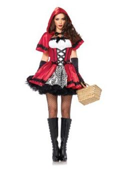 45e8061a61450 Get the good-girl-gone-bad look in our Adult Gothic Red Riding Hood Costume!  Adult Little Red Riding Hood costume includes dress and hooded cape.