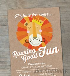 Lion Birthday Party Invitation - paper texture. $15.00, via Etsy. Lion Birthday Party, Lion Party, Thomas Birthday, 4th Birthday Parties, 1st Boy Birthday, Birthday Party Invitations, Cat Party, Birthday Ideas, Safari Theme Party