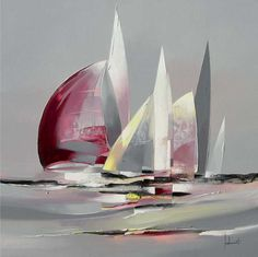 Pierre joubert... Sailboat Art, Sailboat Painting, Sailboats, Boat Drawing, Seascape Paintings, Beach Art, Painting Inspiration, Lovers Art, Art Pictures
